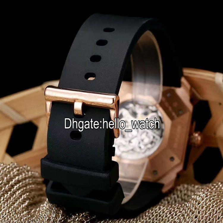 Novo 6 Estilo Octo Finissimo Tourbillon 102719 Esqueleto Automático Mens Watch Rose Pulseira De Borracha De Ouro de Alta Qualidade Gent Novos Relógios