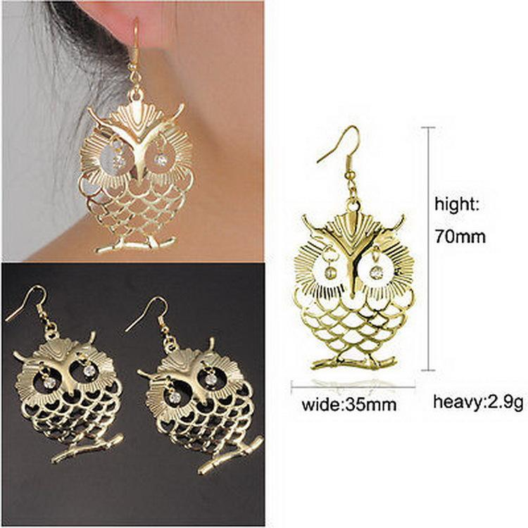 Fashion Owl Stud Earrings Fish Hooks Earings Dangles Chandelier Crystal 18K Gold Charm Earring Womens Jewelry Eardrop Accessories Free DHL