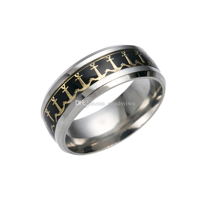 High quality large size 316 Titanium Stainless Steel Anchor hook Statement band ring men women Silver/gold/balck/blue