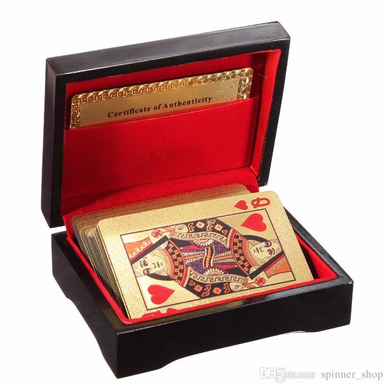 Carta da gioco poker placcata in oro placcato in oro 24 carati regalo insolito speciale di alta qualità con scatola in legno e certificato Edizione tradizionale