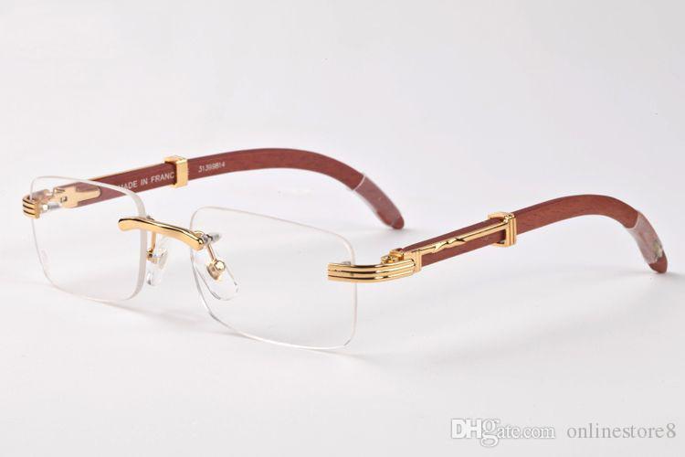 فرنسا تصميم الرجال بدون شفة نظارات خشبية الجاموس القرن النظارات ماركة النظارات البصرية النساء الذهب الخشب نظارات نظارات إطارات