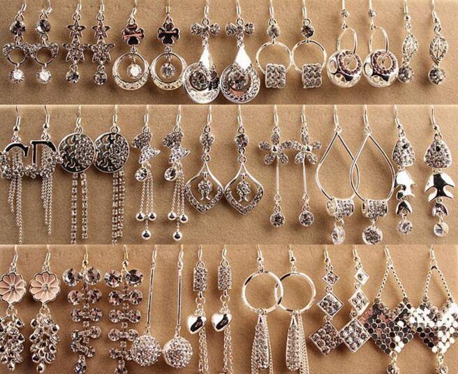10 пар / лот смешать стиль мода кристалл невесты серьги для ремесла подарок ювелирных изделий EP702 бесплатная доставка