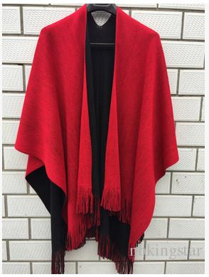 2017 Winter Women Knitted Cashmere Tassel Poncho Female Double Side Blanket Oversize Reversible Capes Shawl Cardigans