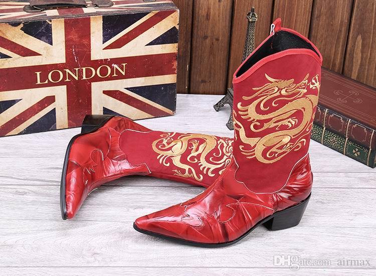 Nuovo arrivo Uomini High Top Scarpe in pelle Fashion Designer Ricamato Dargon Mid Calf Martion Boot punta a punta nera e rossa