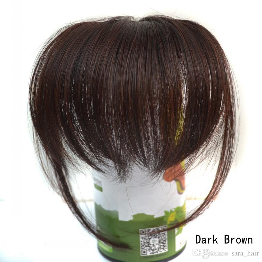 사라 뱅 10 * 20CM, 100 % 진짜 인간의 머리 쾅 프린지 자연스러운 클립 헤어팩 Franja Hairdo 블랙 브라운 Bangs 확장