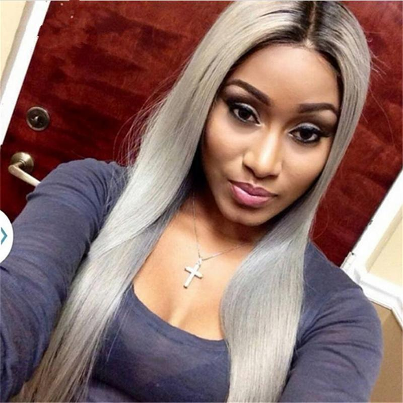 Dark Roots Brazilian Grey Ombre Hair Full Lace Wig Human Natural Hair Line Glueless Grey Silver Ombre Straight Lace Front Wigs