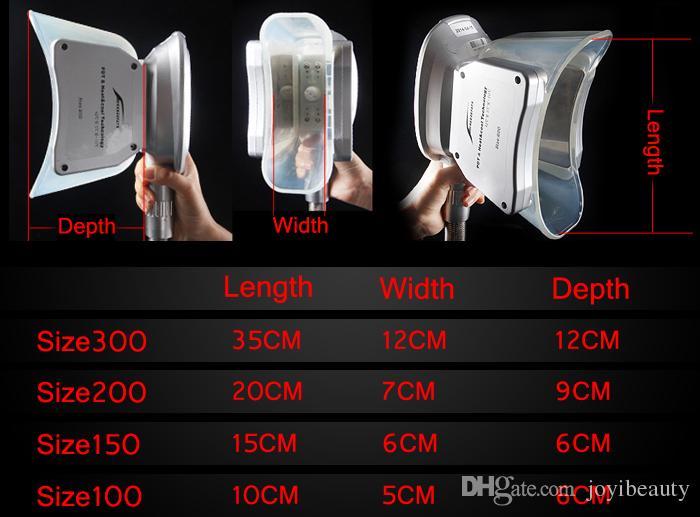Cryolipolisis Piezas de mano Tamaño 100 y tamaño 150 y tamaño 200 Manijas de criovasos para la terapia Cryo Terapia Peso de vacío Peso Máquina de belleza