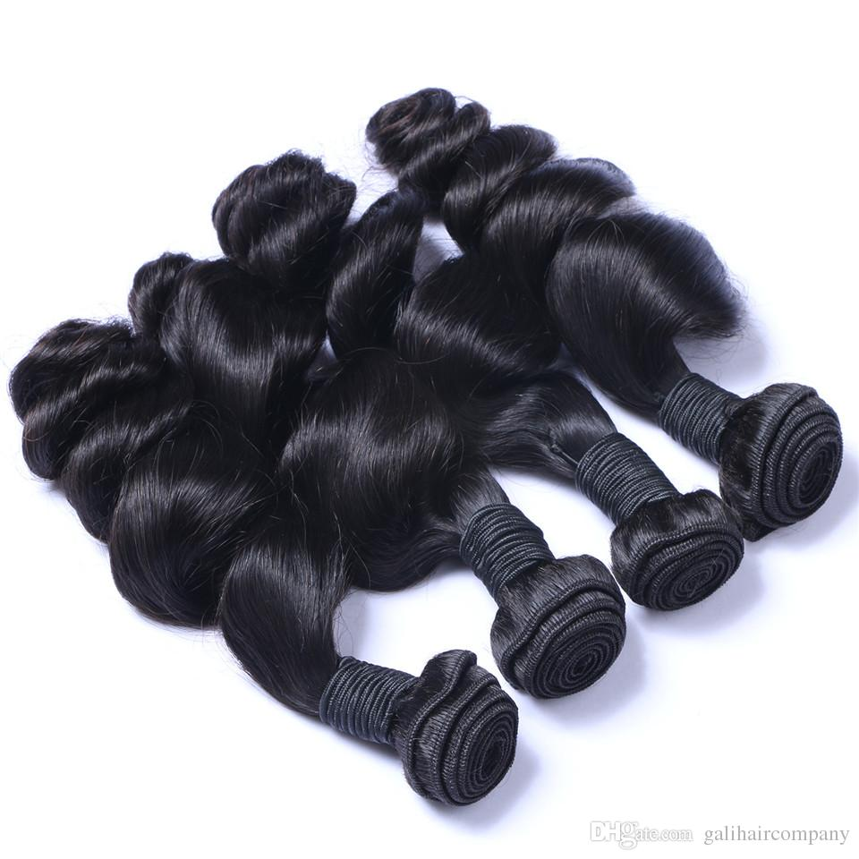 8A High Quality Brazilian Loose Wave Unprocessed Human Hair Extensions 8-30inch Natural Black Color Dyeable DHL Thick