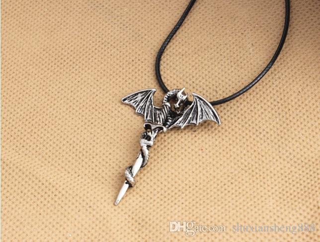 New Personality Cool Stainless Steel Long Pendant Necklace Pterosaur Sword Jewelry Men Necklace Dragon Punk Necklace