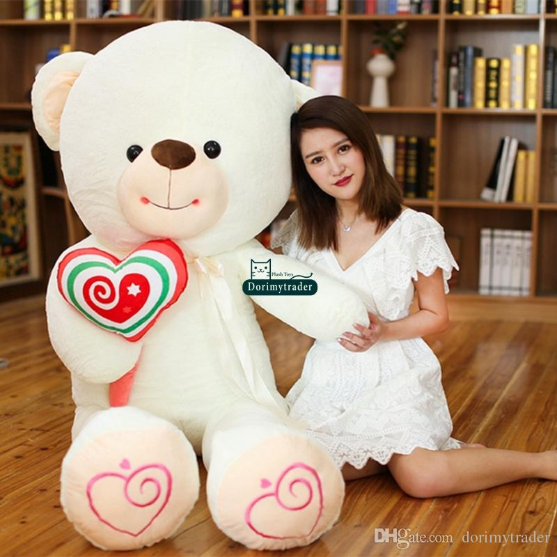 Dorimytrader Lifesize Cartoon Bear with Lollipops Plush Doll Big Stuffed Bears Toys Hug Bear Present for Children Lover DY61876
