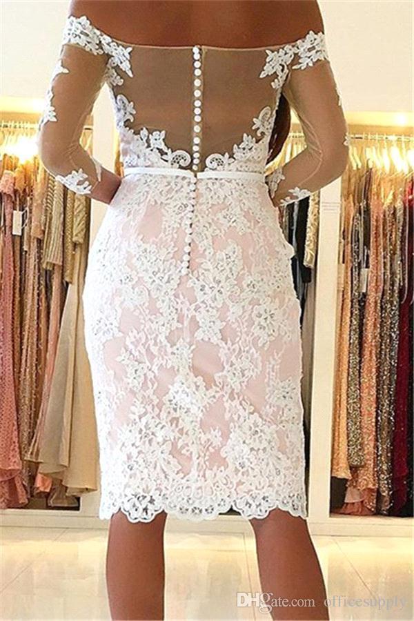 Кружева короткие платья возвращения на родину с плеча с длинными рукавами аппликация длиной до колен короткие коктейльные платья выпускного вечера на заказ