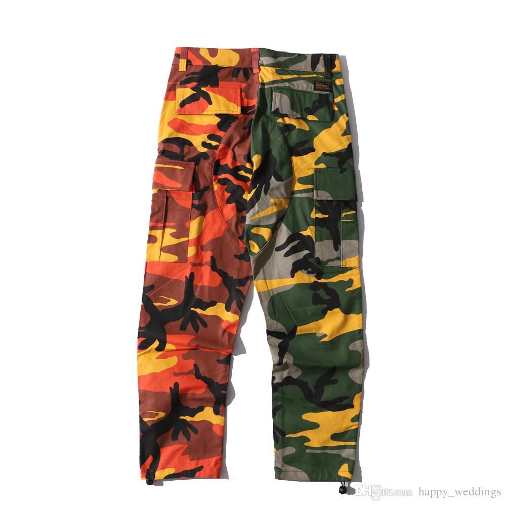 2018 NEW Camo vertical stripes Patchwork Cargo Pants Men's Hip Hop Casual Camouflage Trousers Fashion Joggers Sweatpants