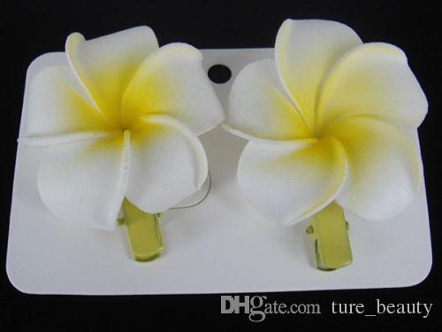15% off! Hawaiian Florida Beach Plumeria Wedding Flowers Hairgrips Foam Frangipani Flower Hairpin Bridal Hair Clip girl Hair Accessory