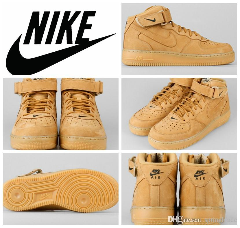 competitive price 53b22 d7901 Nike Air Force 1 Mid 07 PRM QS FLAX 715889 200 Wheat Men Women Sneakers  Shoes Original Quality Classic AF1 Basketball Shoes Sizes 36 46 Shoes Sale  Sneakers ...