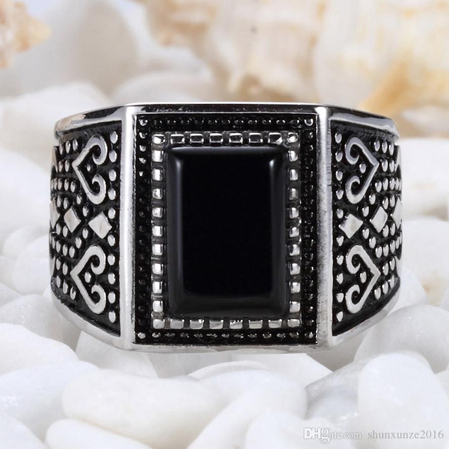 Anelli di gioielli in argento sterling regalo squisito 925 anelli agata nera S - 3808 sz # 7 8 9 10 Modelli di esplosione Matrimonio di fidanzamento Consiglia