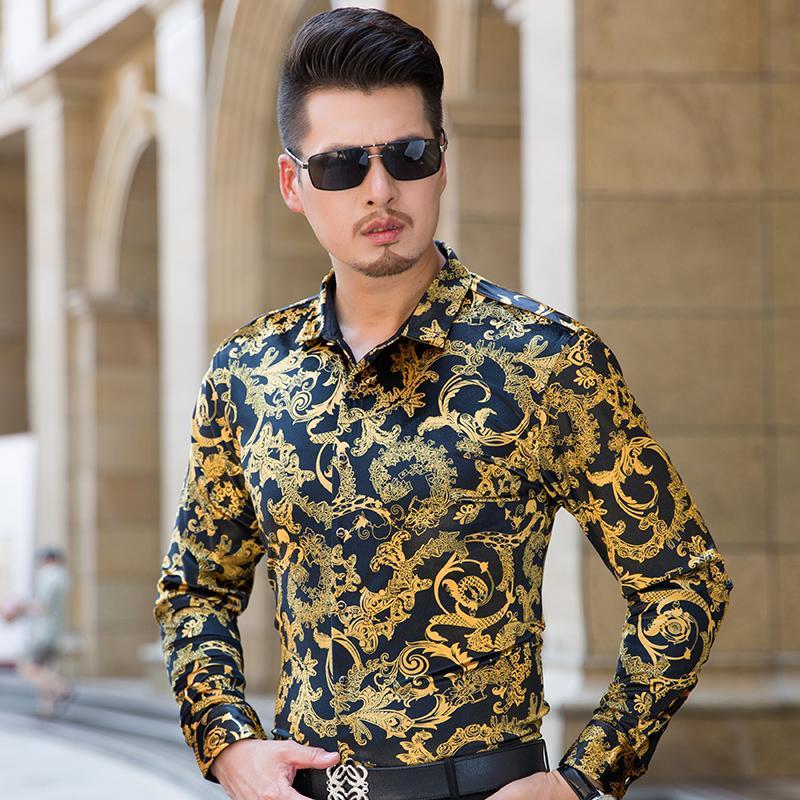 Mens ver através de camisas barroco do vintage camisas dos homens de seda flor camisas de vestido transparente leopardo impressão masculina
