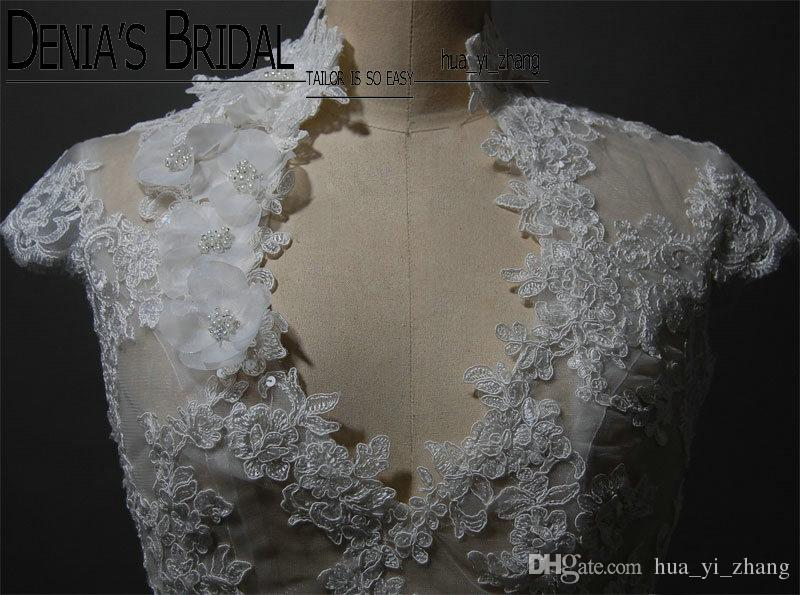 2017 Bridal Wedding Jacket with Keyhole Back High collar V-neck Capped Sleeve Lace Appliques Handmade Flowers Pearls Buttons Wedding Bolero
