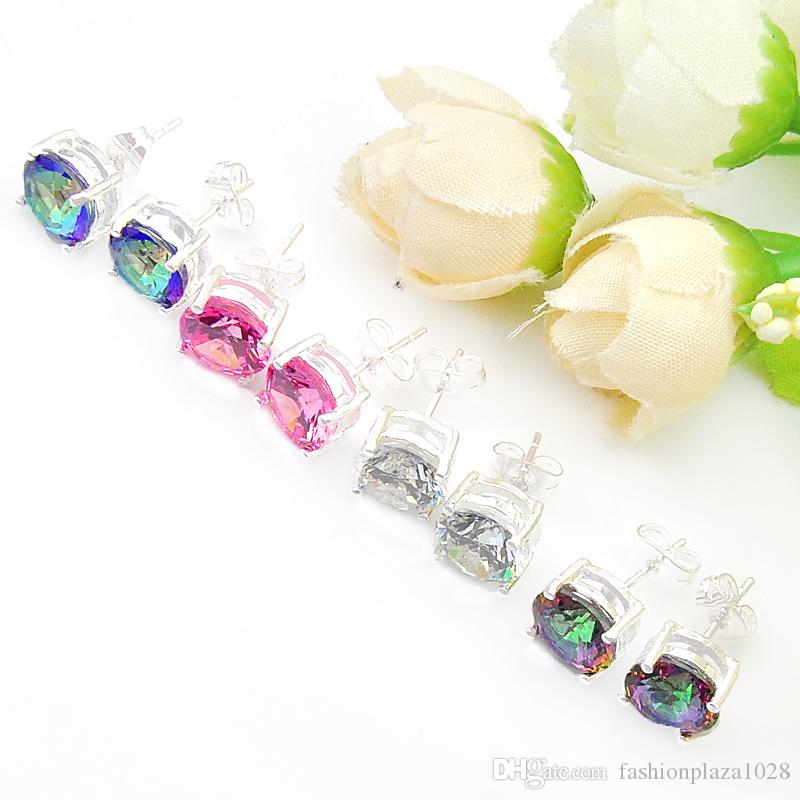 Mix Wholesale Wedding Gift Fire Round Mystic Topaz Pink White Cubic Zirconia 925 Sterling Silver Stud Earrings