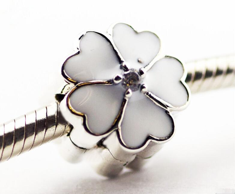 44f146c33 Pandora White Primrose Clip Beads Enamel Flower Charm 925 Sterling Silver  Loose Beads for Thread Bracelet Fashon Jewelry Authentic Jewelry Charms  Beads ...