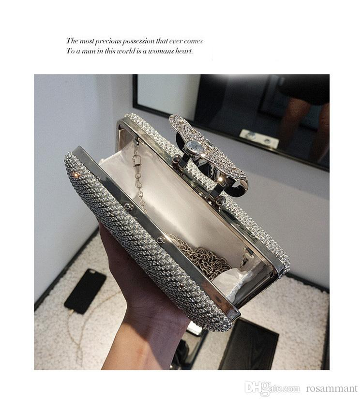 Shining Crystal Silver/Gold Bridal Hand Bags Style Fashion Ring Women Clutch Bags For Party Evenings Formal
