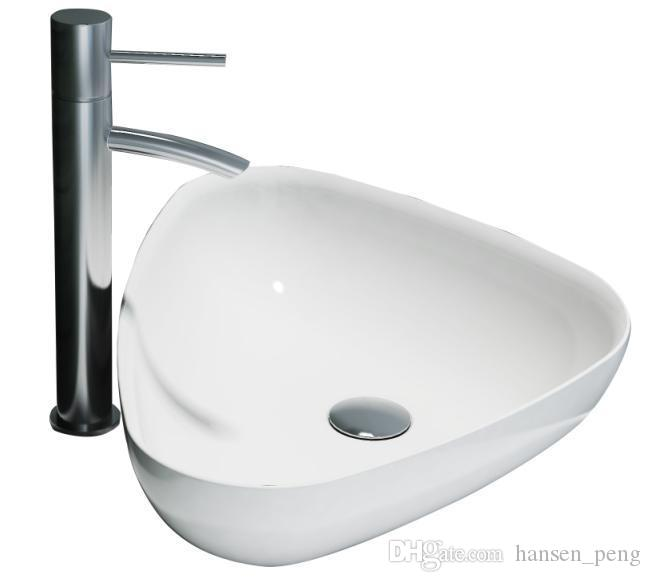 Triangular Bathroom Solid Surface Stone Wash Basin Above Counter Matt White Or Glossy Laundry Vessel Sink RS38206