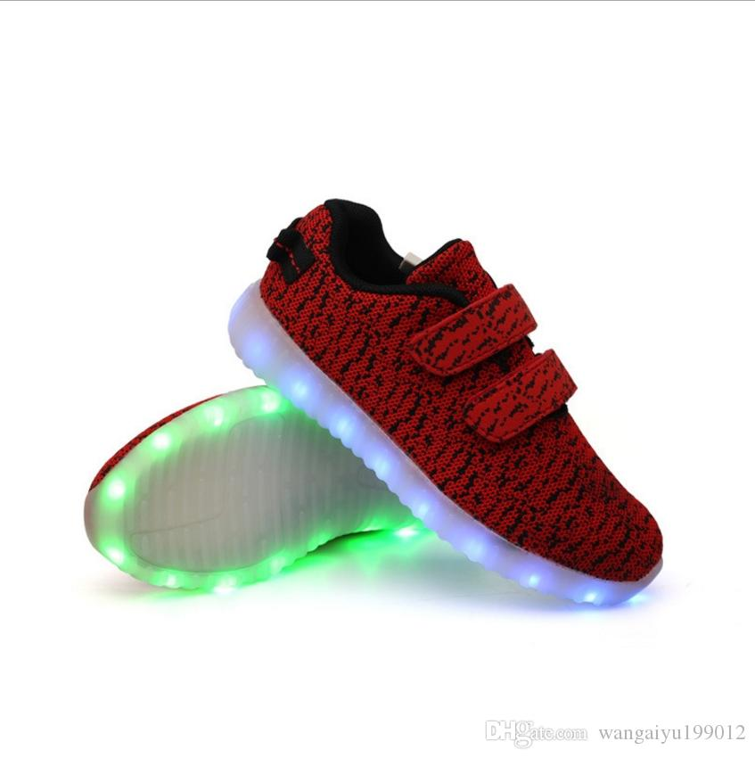 Sapatos leves das crianças luz do bebê sapatos de outono e inverno modelos pequenas meninas luzes piscando luminosa banda luzes menino maré