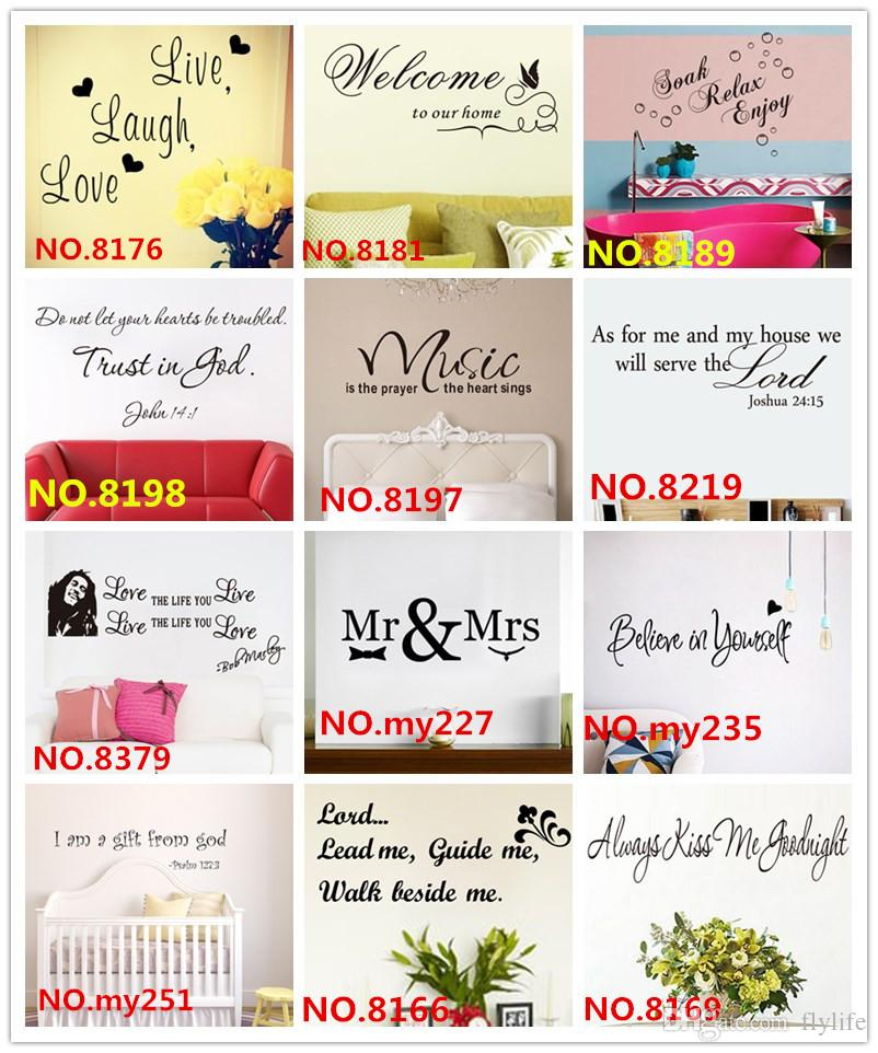 Mix Order Quote Wall Decals wholesale Removable Vinyl Wall Art Stickers for Home or Office