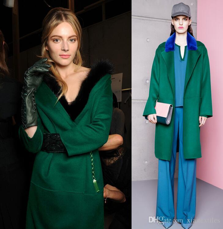 Dark green thickening European American High-end Elegant Fashion Womens Stripe Wool Fabrics for Clothes Cashmere skirt wool fabric B160