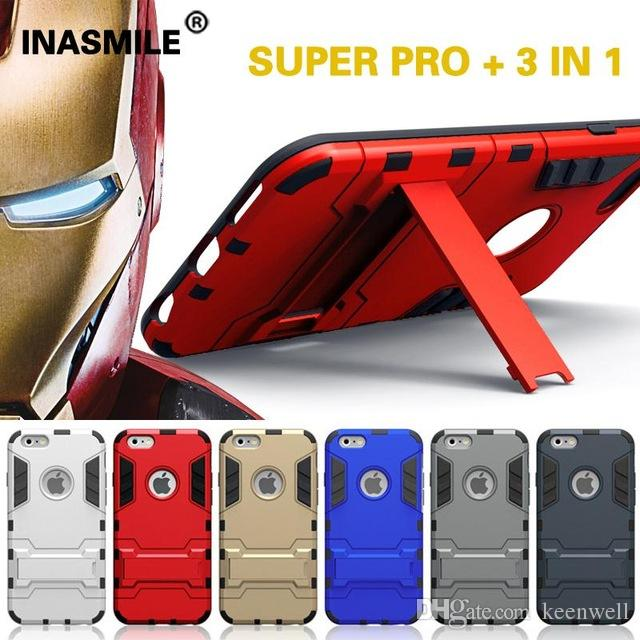 Iron Man Super Protection 3 In 1 TPU+PC+Stand Case For IPhone 6 Shockproof  For IPhone6 6S 6 Plus Galaxy S7 S6 Back Cover Case With Holder Cases For  Cell ... d048e7db270