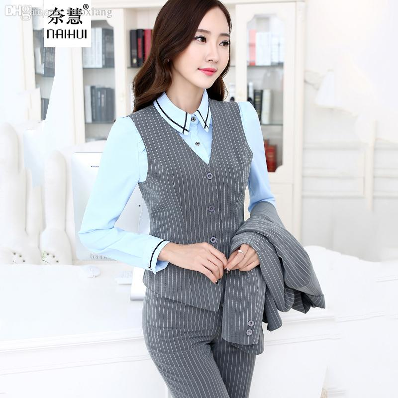 d8df1dbfed4 Wholesale-2016 Ladies Office Uniform Style Women Business Striped ...