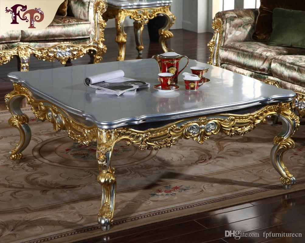 Antique Classic Furniture French Classic Coffee Table With Silver And Gold Leaf Gilding