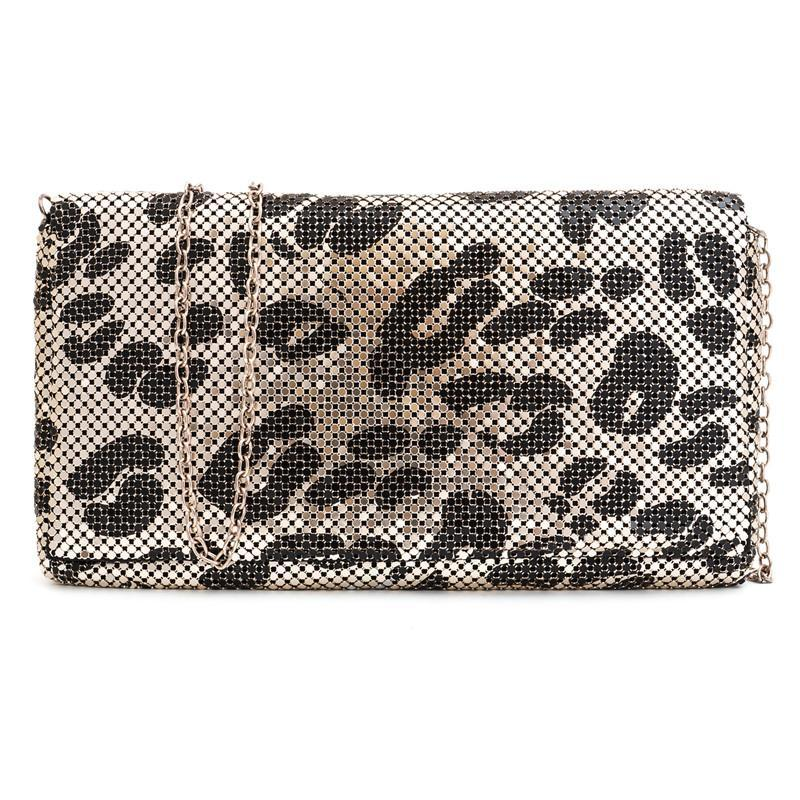 Hot Casual Women Messenger Bags Leopard Lady Handbag Aluminum Flakes Clutch Wristlet Evening Bags Fashion Bags 8024