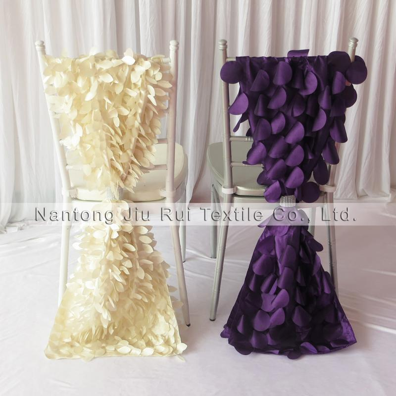 35 см * 200 см 3D Тафта Chiavari Стул Пояса 20 ШТ. Много Бесплатная Доставка Фиолетовый Вафельный Крем Форма Листа 2 Стиль Можно Выбрать