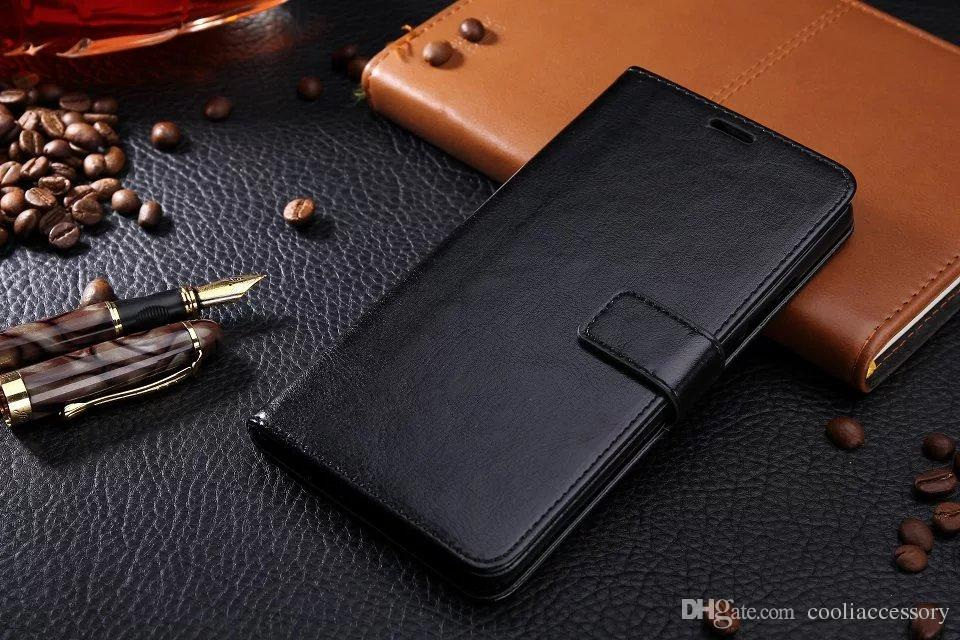 For Iphone 8 8plus 7 I7 6 6S Plus SE 5 5S One Plus 3 Wallet Flip Leather Pouch Case Crazy Horse Mad Stand TPU ID Card Book Skin Cover