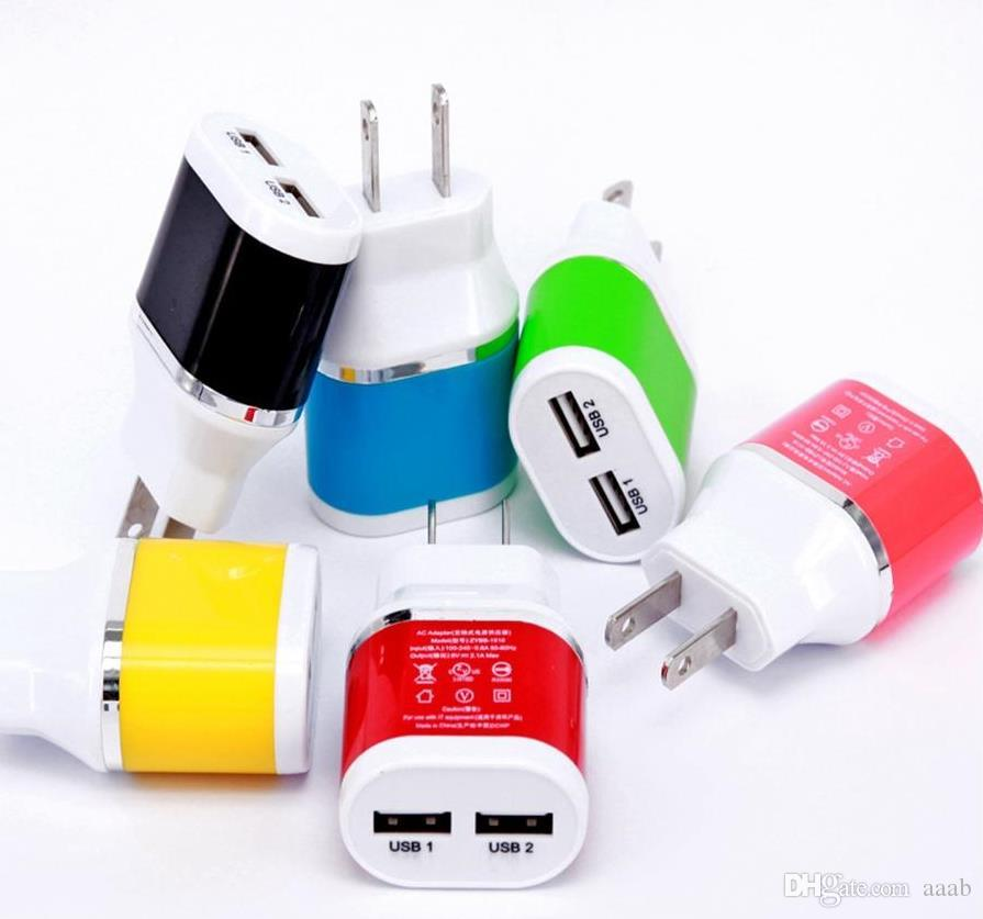 New Arrival ! US Plug Dual colors Business Wall Chargers Dual USB 2.1A AC Travel Home Power Adapter Wall Charger For iphone6s samsung s7 s6