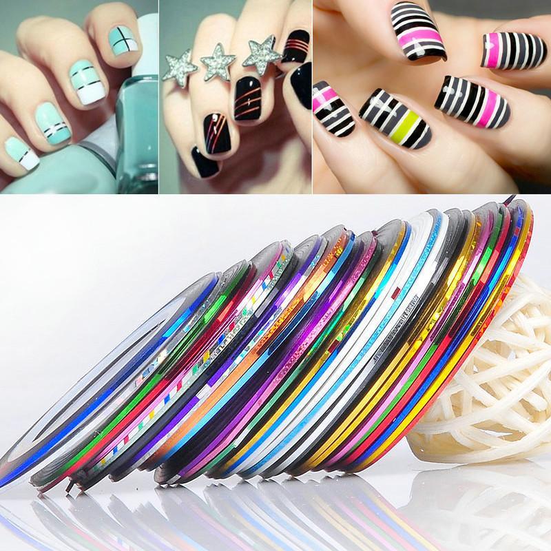 13 Couleur Rolls Striping Tape Line Nail Art Décoration Autocollant Multi Couleurs Nail Art Nail Patterns Highlight Nail Wraps Sticker 0603038