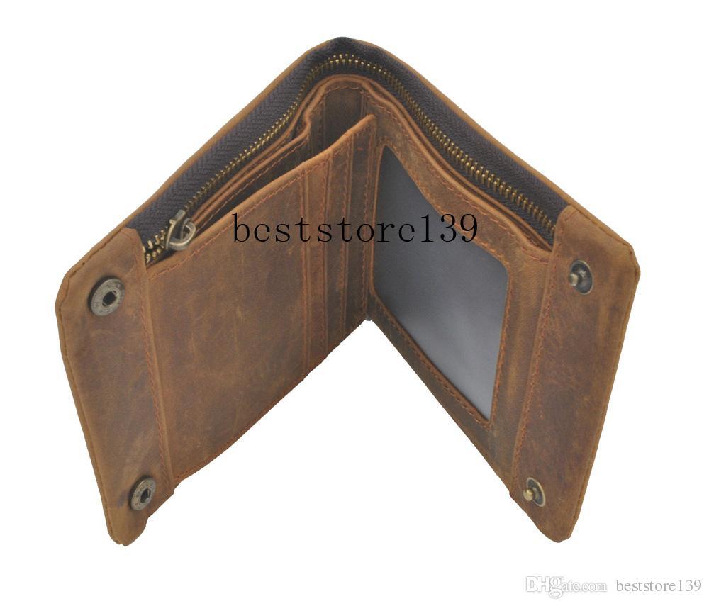Luxury Designer Vintage Handmade 100% genuino Crazy Horse in pelle di vacchetta uomini Portafoglio Titolare della carta della borsa con cerniera Portafogli Uomo