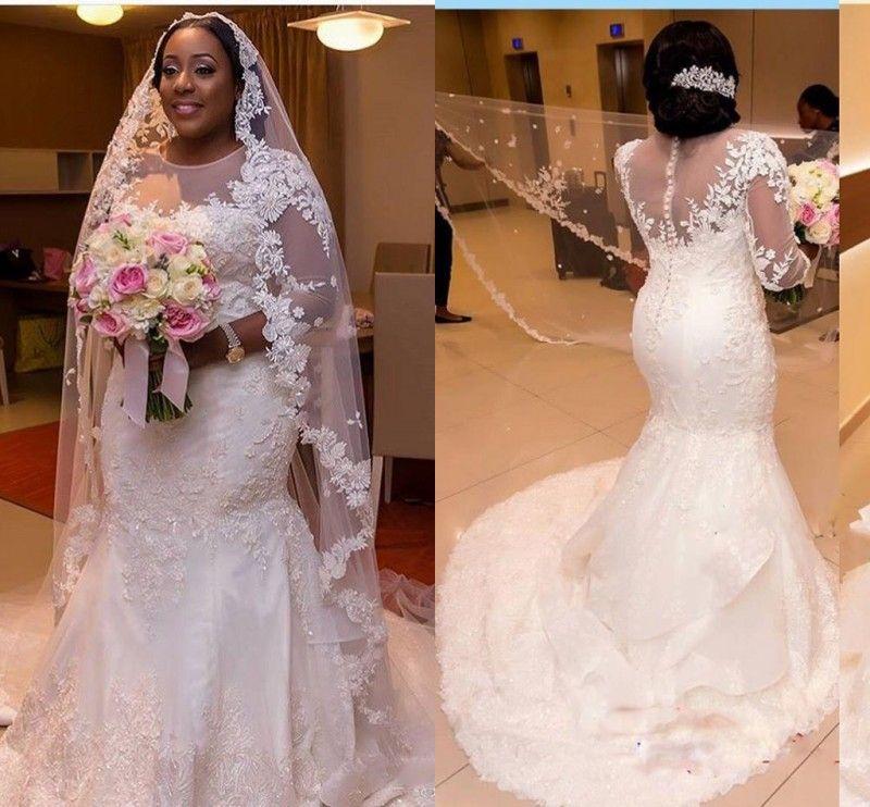 Arabic Plus Size Lace Wedding Dresses 2017 Sheer Neck Illusion Long ...