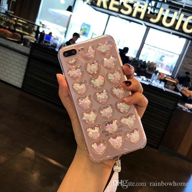 3D Love Heart Glitter Bling Star Cute Candy Soft Clear Transparent TPU Back Cover For Iphone XS Max XR X 8 7 Plus