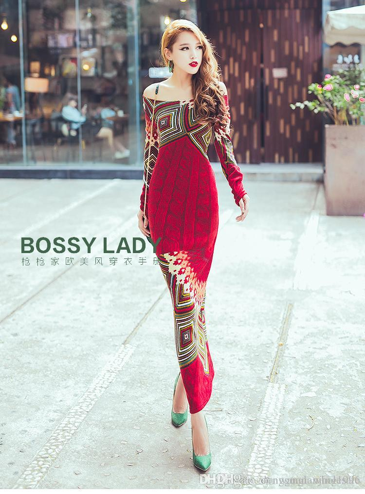 23016bcbde Knitted dress 2016 autumn winter women red bohemia print long sleeve slim  hip placketing knitting sweater ...