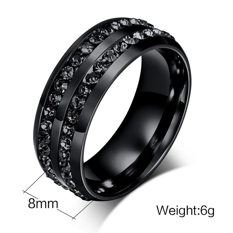 2016 MenS Ring Fashion Real Titanium Rings For Women Black Plated