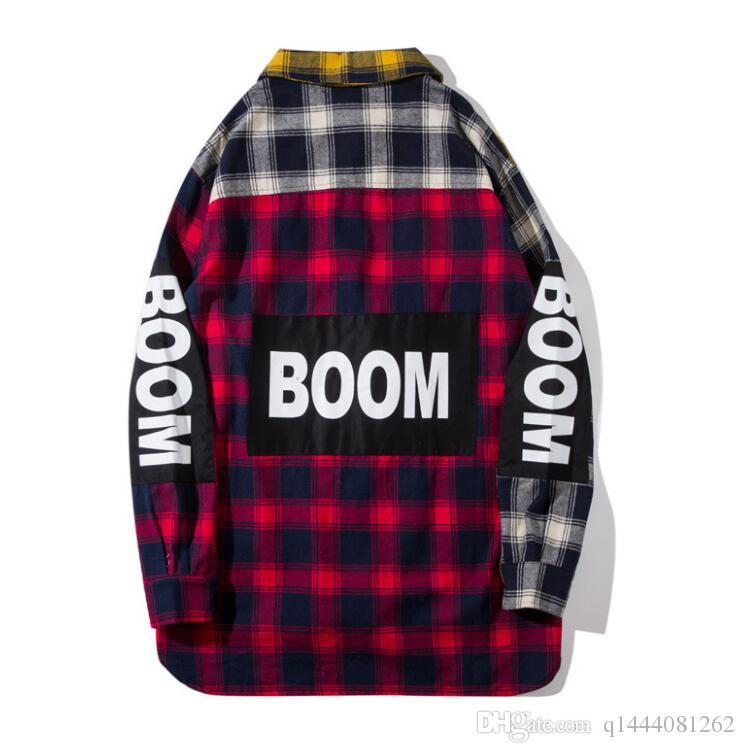 Color Block Patchwork Plaid Long Sleeve sup Shirts Men Hip Hop kanye west Casual Pocket Button Up Shirts Coats Streetwear