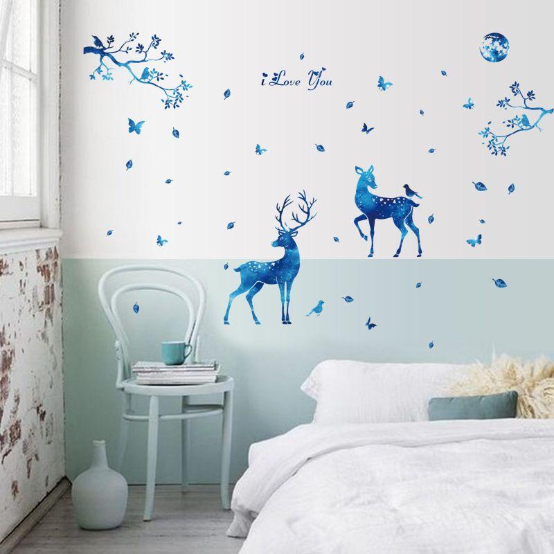 60 х 90 см синий звездный свет олень домашнего декора наклейки на стены северные современные гостевая спальня тв фон мода украшения пвх наклейки игрушки подарки