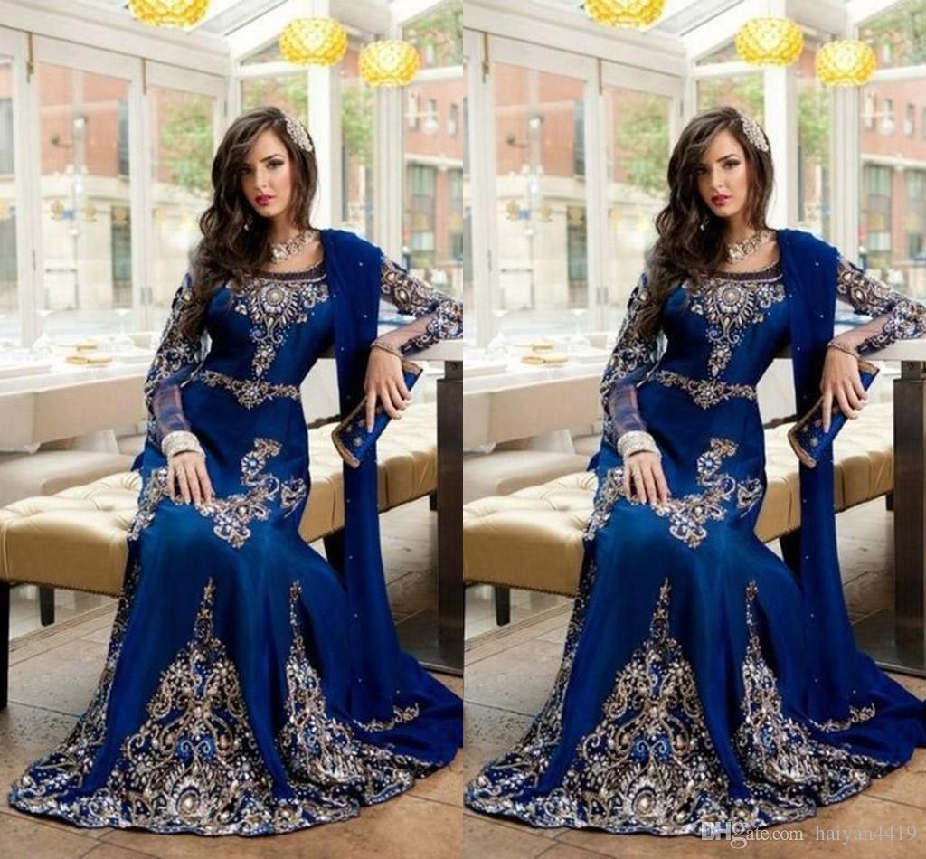 Robes de soirée 2018 luxe arabe islamique col cou broderie cristal perlé royal bleu longue formelle Dubaï robe de soirée Abaya robes de bal