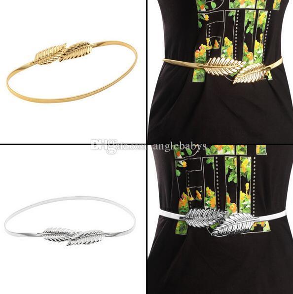 2016 Hot sell Gold Plated Metal Belts Women All-match Alloy Leaf Elastic Waist Band Waistband Waist Belts Accessorie For Girls&womens Dress