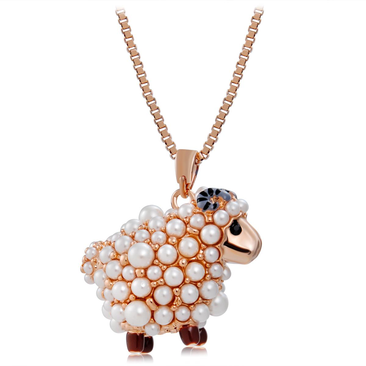 Retail Brand Neoglory Fashipn Jewelry Cute Little Sheep Pendant Necklace For Women Gold Plated White Colour NJ-0001
