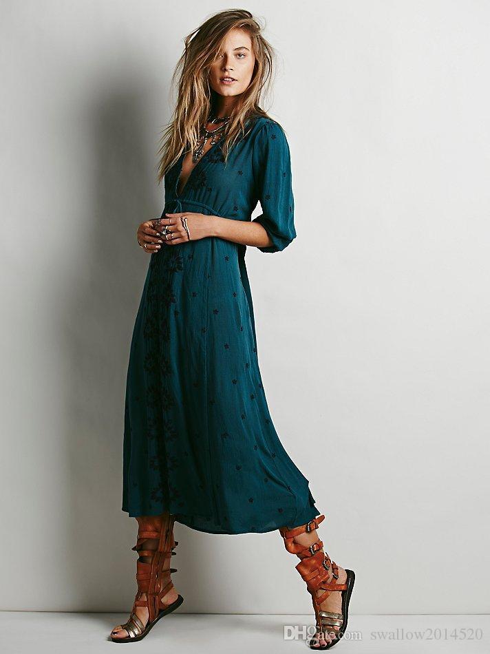 2017 Spring Summer V Neck Women Bohemian Ethnic Flower Embroidered Tunic Long Dress Hippie Boho People Brand Casual Dresses