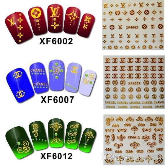 Naill Art 3D Nail Stickers Water Proof Gold Plated Nail Tips Nail ...