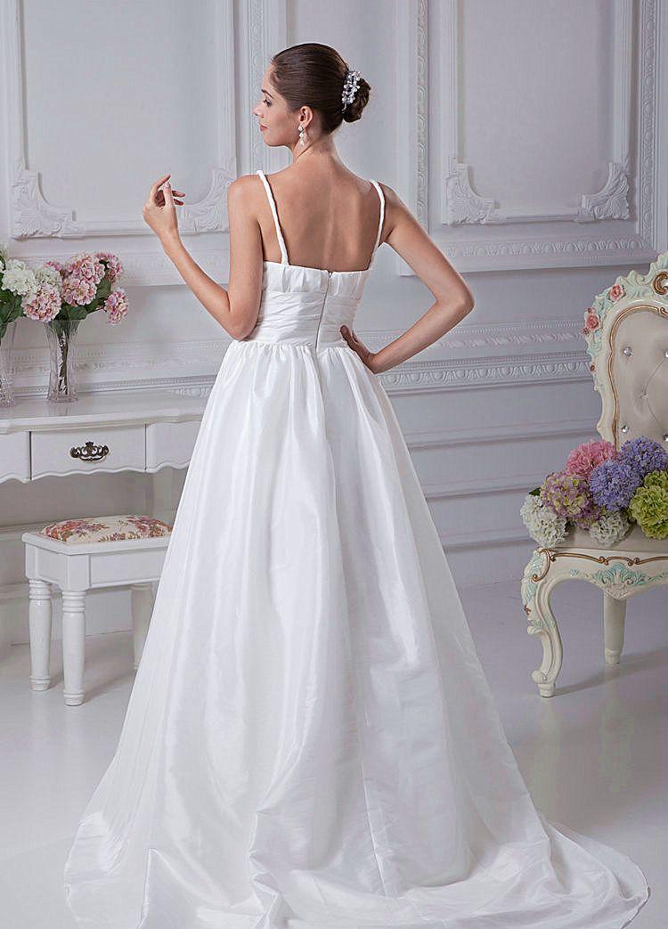 2018 Frühling A-Linie mit V-Ausschnitt Teffeta Brautkleid Dicke Riemen mit Falten Brautkleid Perlen auf der Taille