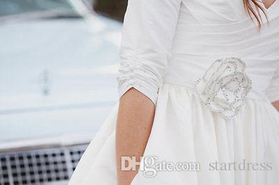 Vintage kurze Brautkleider, die petite knielange landes brautkleider halbhülse perlen blume böhmischen hochzeitskleid robe